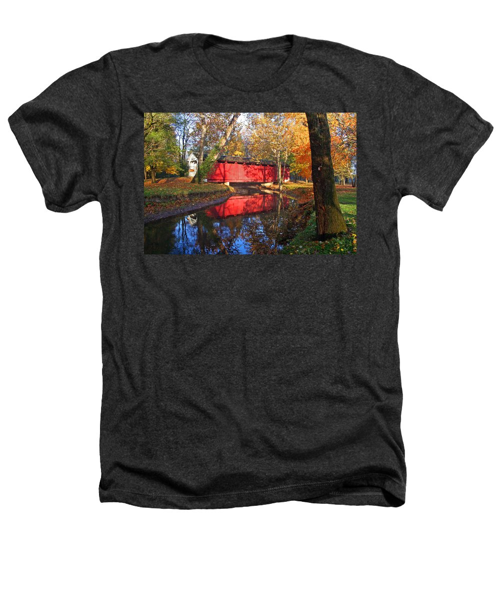 Covered Bridge Heathers T-Shirt featuring the photograph Autumn Sunrise Bridge II by Margie Wildblood