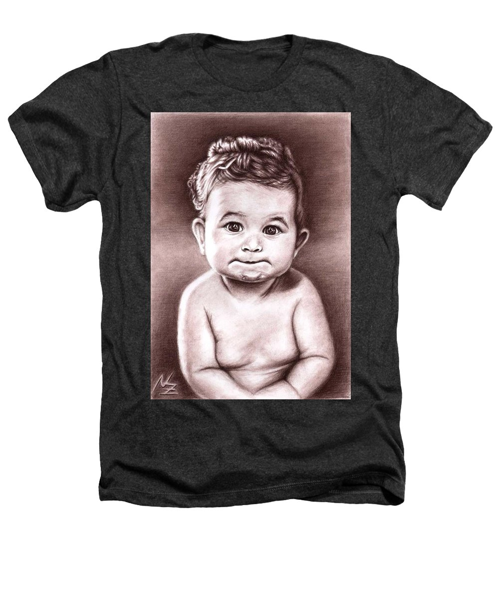 Baby Child Kind Enfant Face Sepia Charcoal Portrait Realism Heathers T-Shirt featuring the drawing Babyface by Nicole Zeug