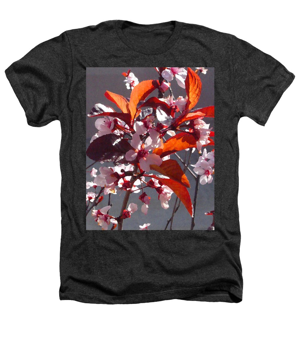 Floral Heathers T-Shirt featuring the painting Backlit Pink Tree Blossoms by Amy Vangsgard