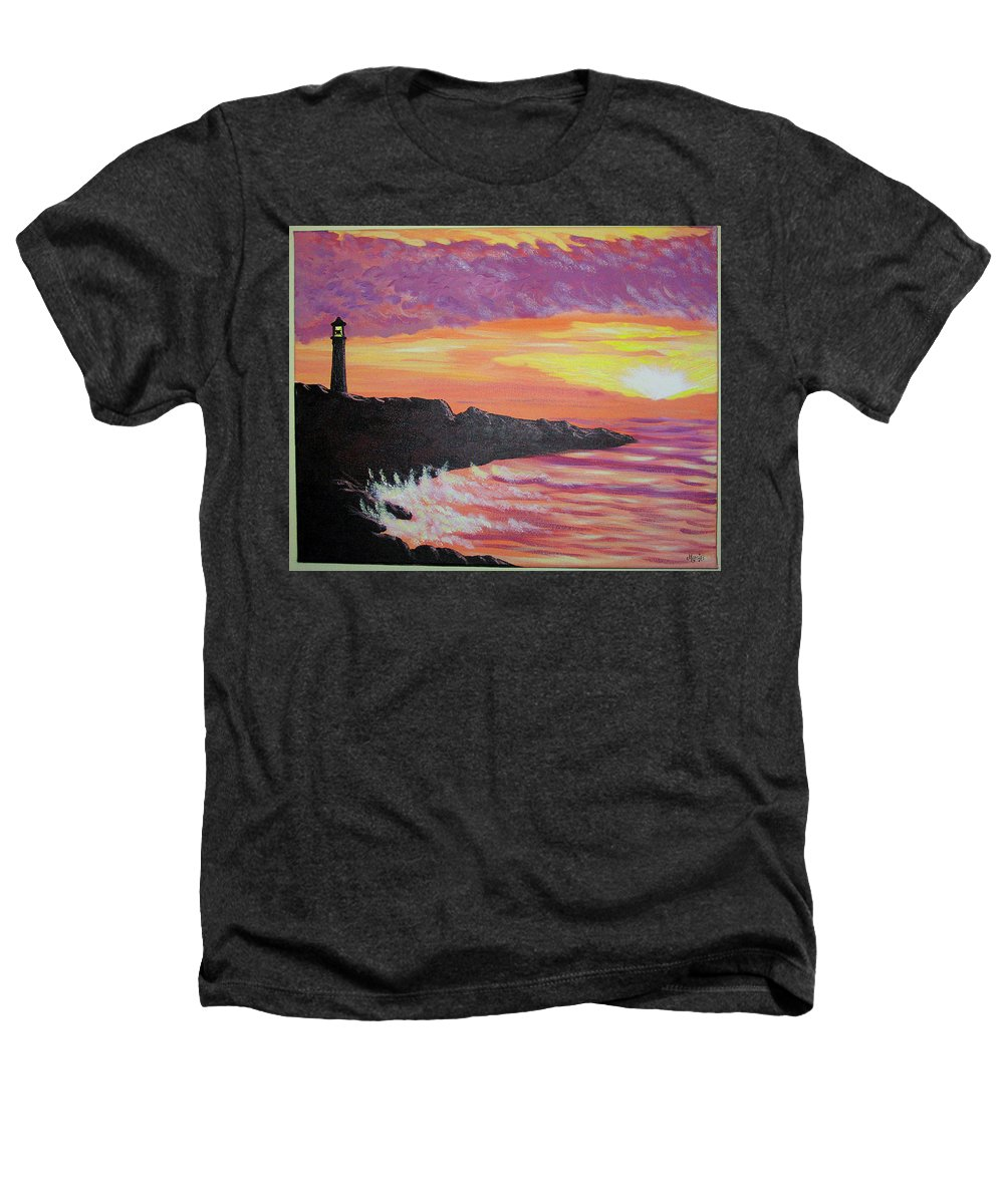 Seascape Heathers T-Shirt featuring the painting Bahia At Sunset by Marco Morales