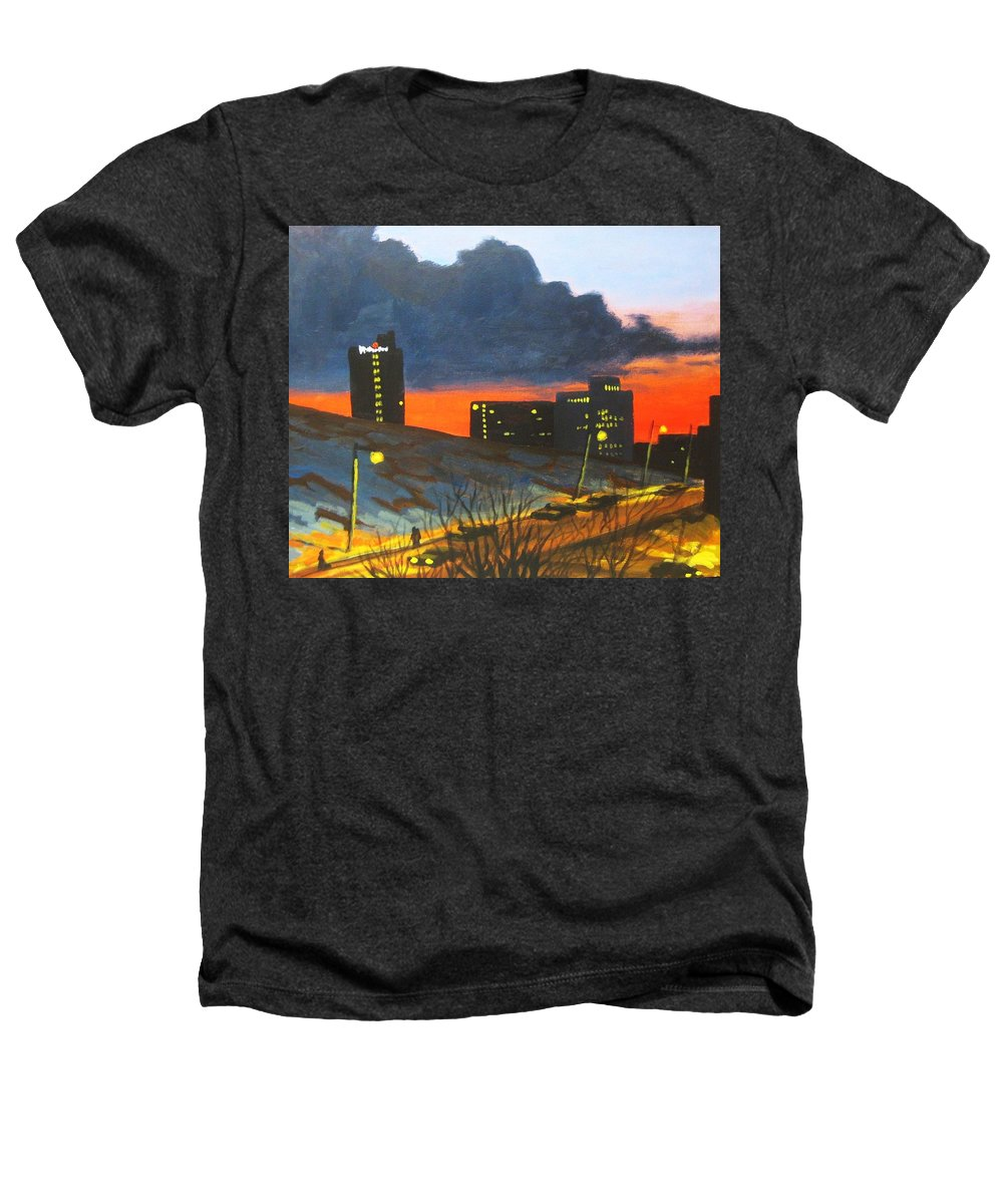 Sunset Heathers T-Shirt featuring the painting Balcony View 2 by John Malone