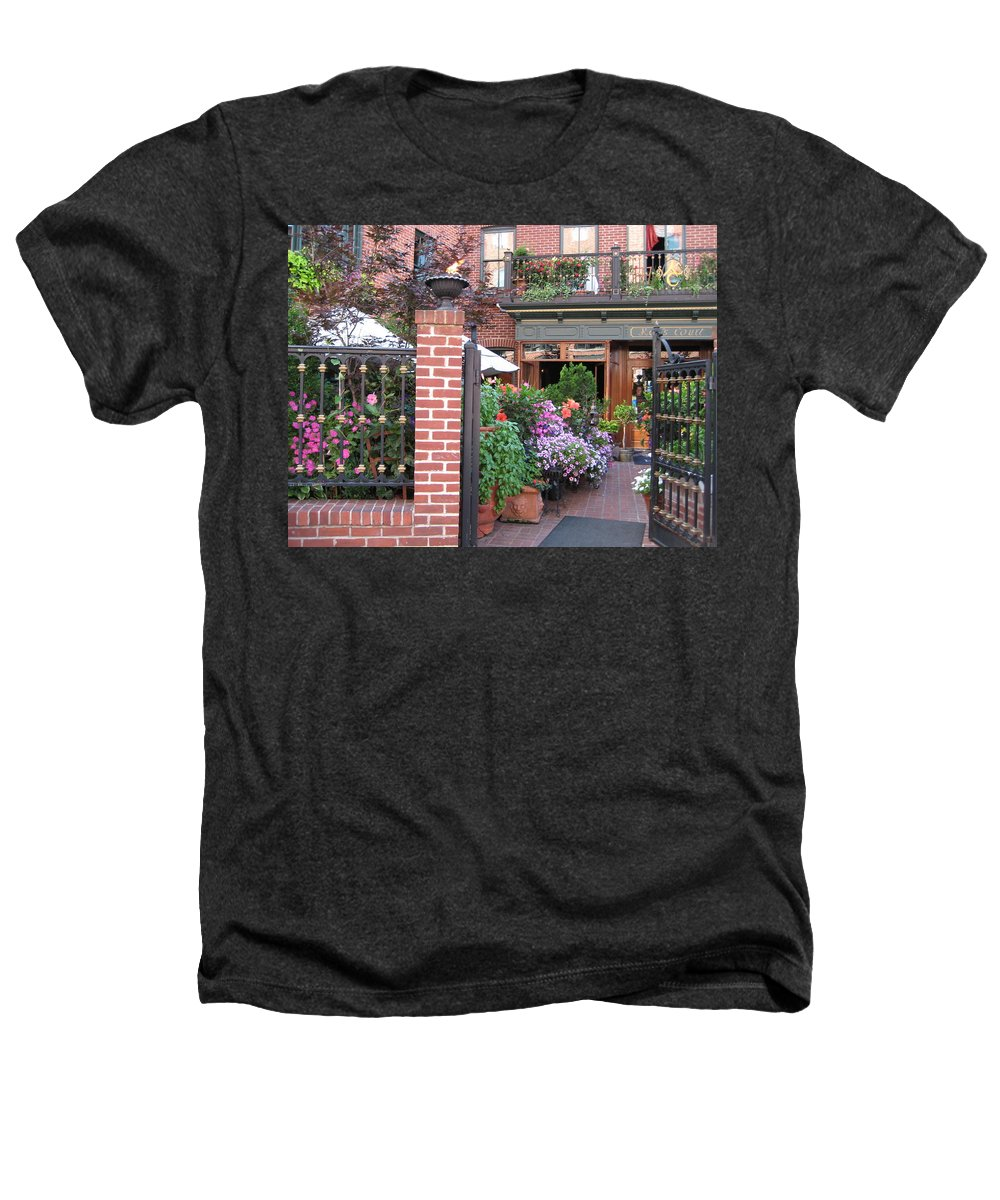 Courtyard Heathers T-Shirt featuring the photograph Baltimore Cafe     By Jean Carton by Jerrold Carton