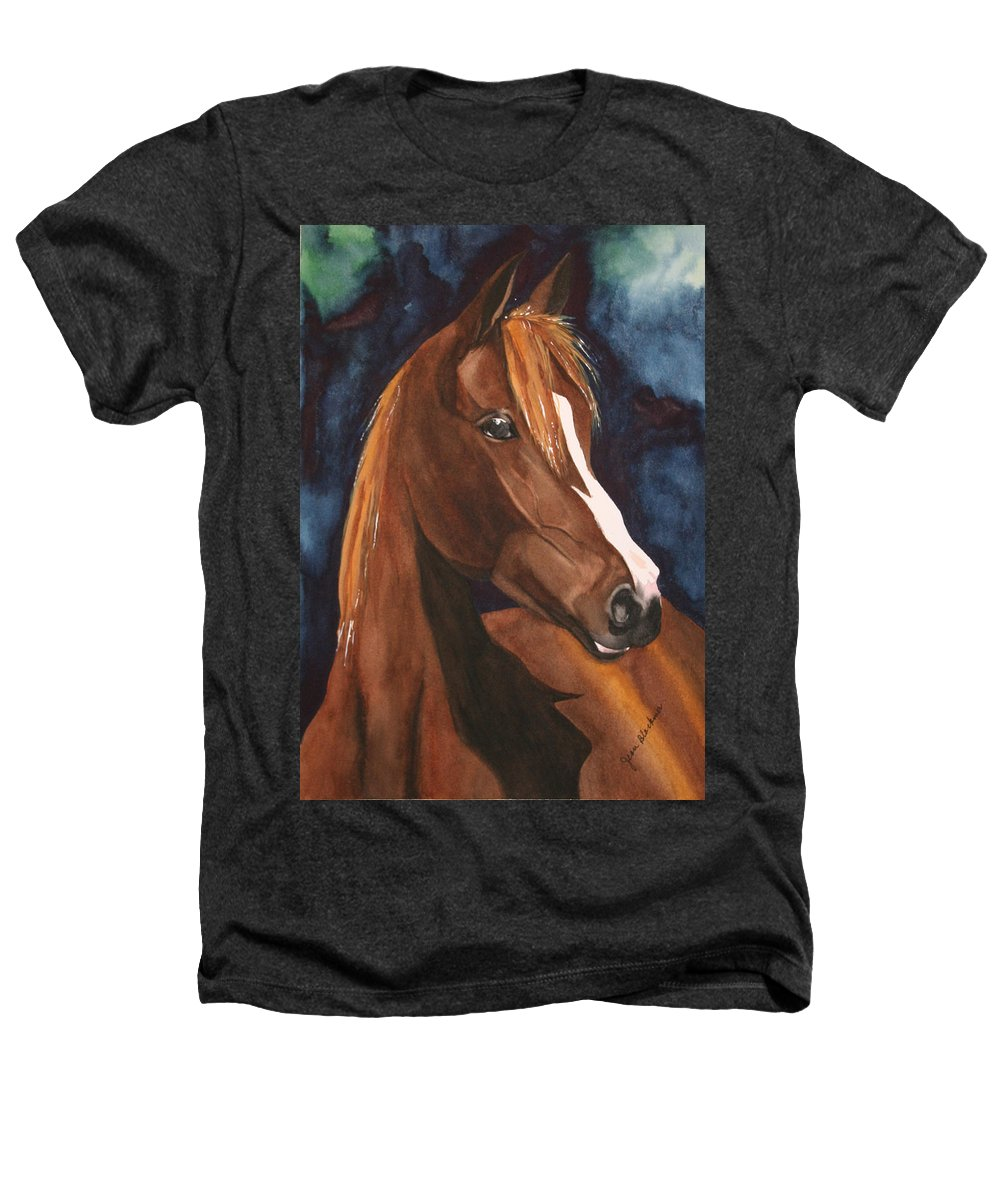 Horse Heathers T-Shirt featuring the painting Bay On Blue 2 by Jean Blackmer