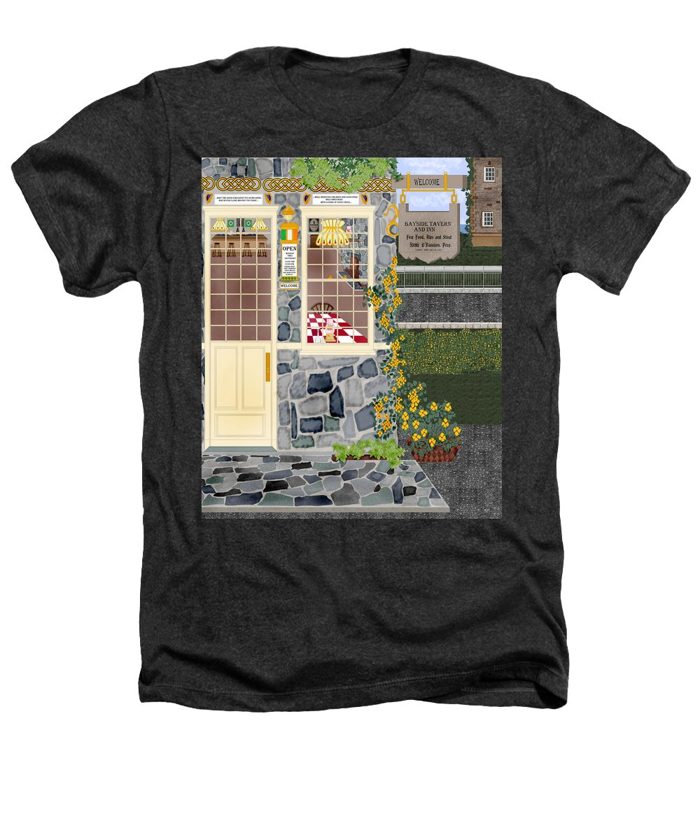 Quaint Inn Heathers T-Shirt featuring the painting Bayside Inn And Tavern In Ireland by Anne Norskog