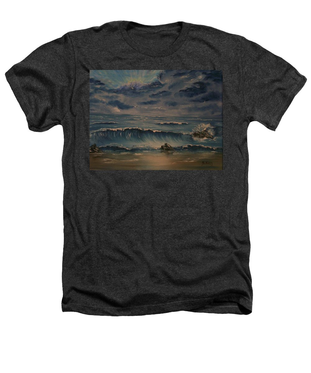 Water Heathers T-Shirt featuring the painting Beach Scene by Stephen King