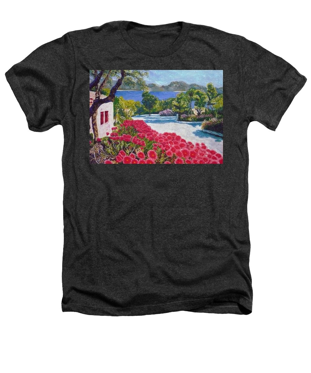 Landscape Heathers T-Shirt featuring the painting Beach With Flowers by Ericka Herazo
