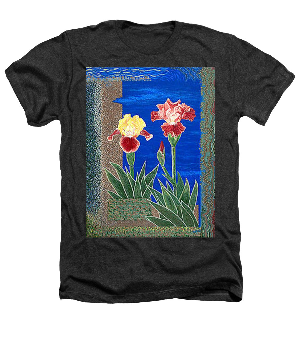 Irises Heathers T-Shirt featuring the painting Bearded Irises Cheerful Fine Art Print Giclee High Quality Exceptional Color by Baslee Troutman