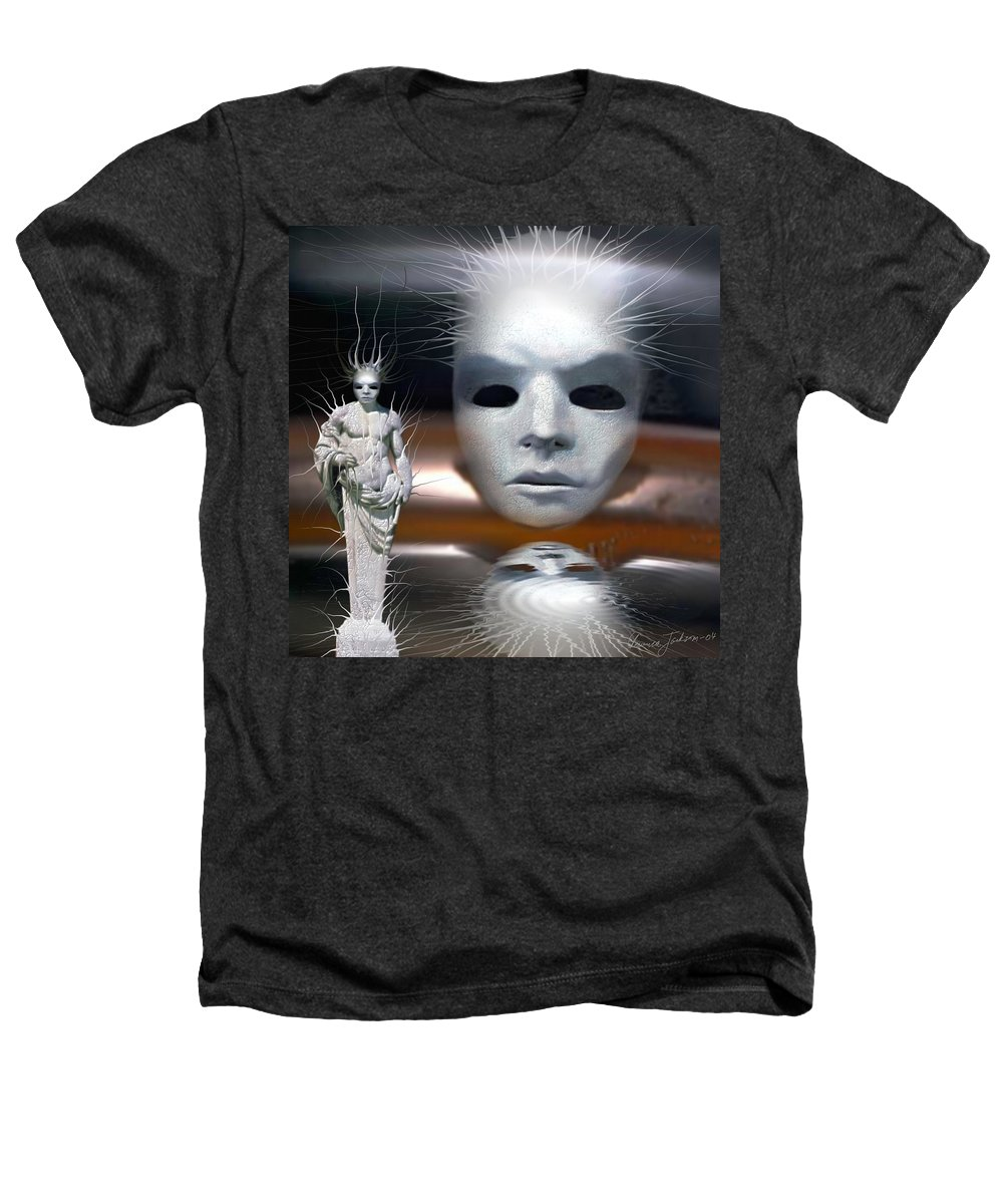 Digital Beauty Eyes Water Heathers T-Shirt featuring the digital art Beauty Is Invisible To The Eye. by Veronica Jackson