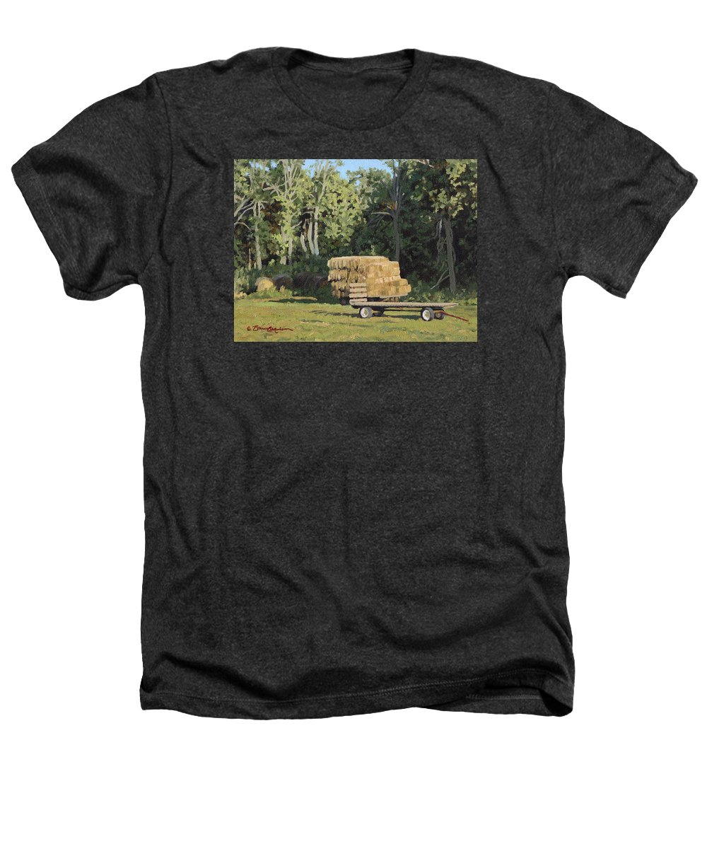 Landscape Heathers T-Shirt featuring the painting Behind The Grove by Bruce Morrison