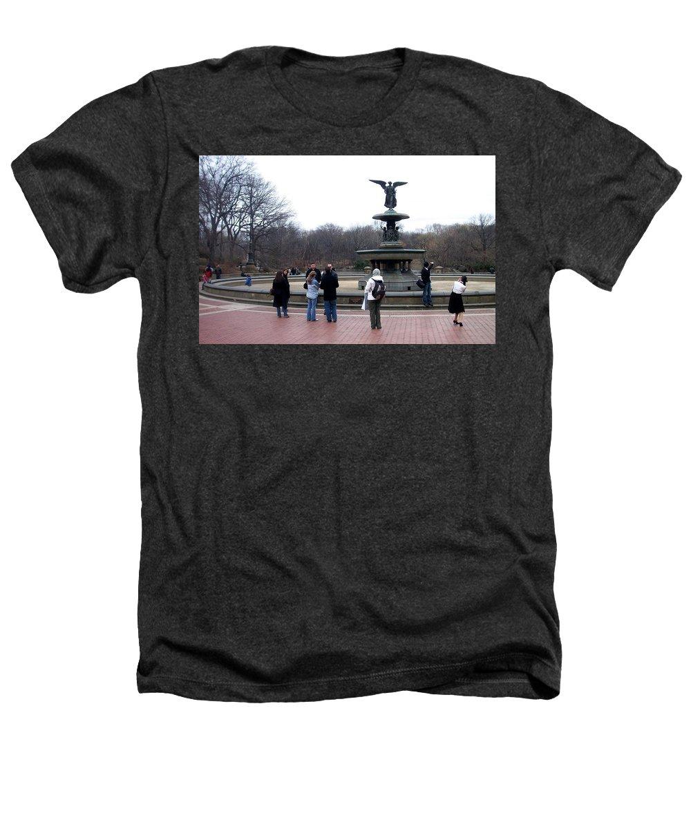 Bethesda Fountain Heathers T-Shirt featuring the photograph Bethesda Fountain by Anita Burgermeister