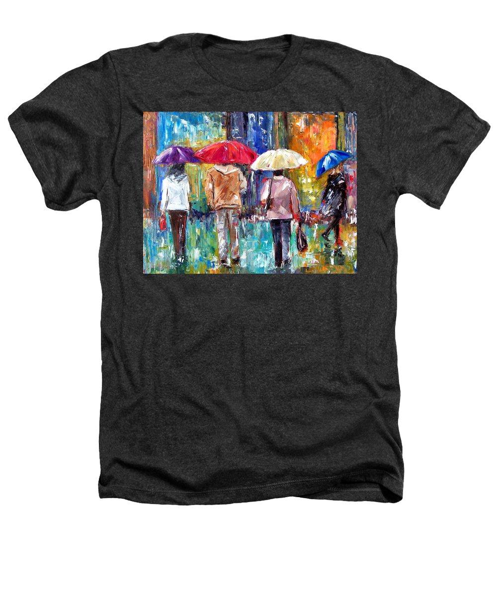 Rain Heathers T-Shirt featuring the painting Big Red Umbrella by Debra Hurd