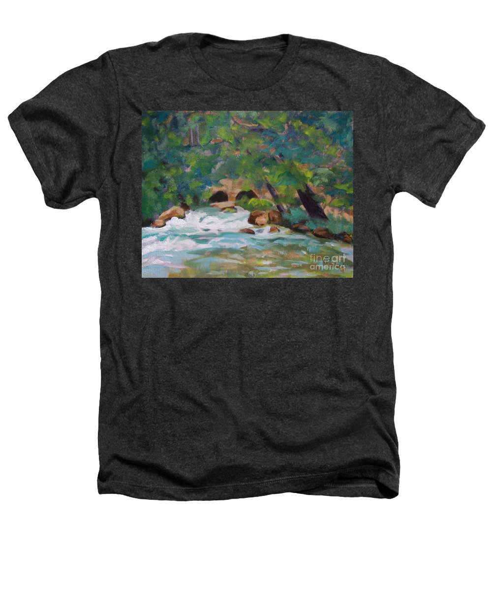 Impressionistic Heathers T-Shirt featuring the painting Big Spring On The Current River by Jan Bennicoff