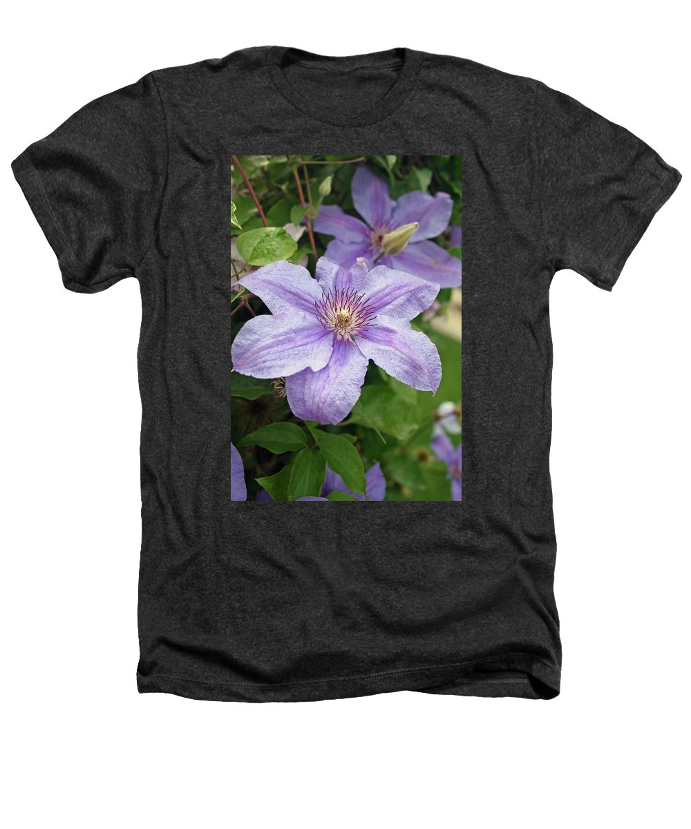 Clematis Heathers T-Shirt featuring the photograph Blue Clematis by Margie Wildblood