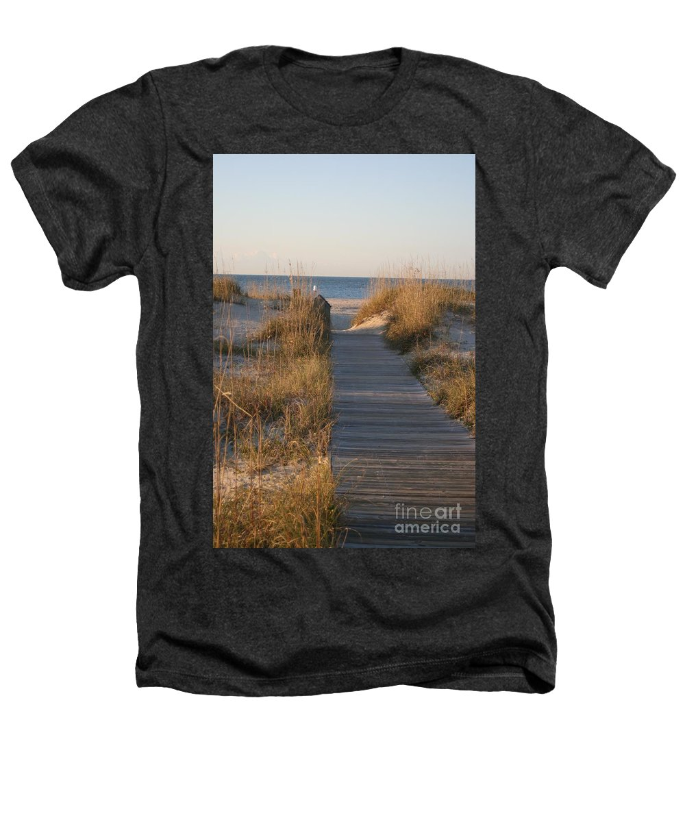 Boardwalk Heathers T-Shirt featuring the photograph Boardwalk To The Beach by Nadine Rippelmeyer