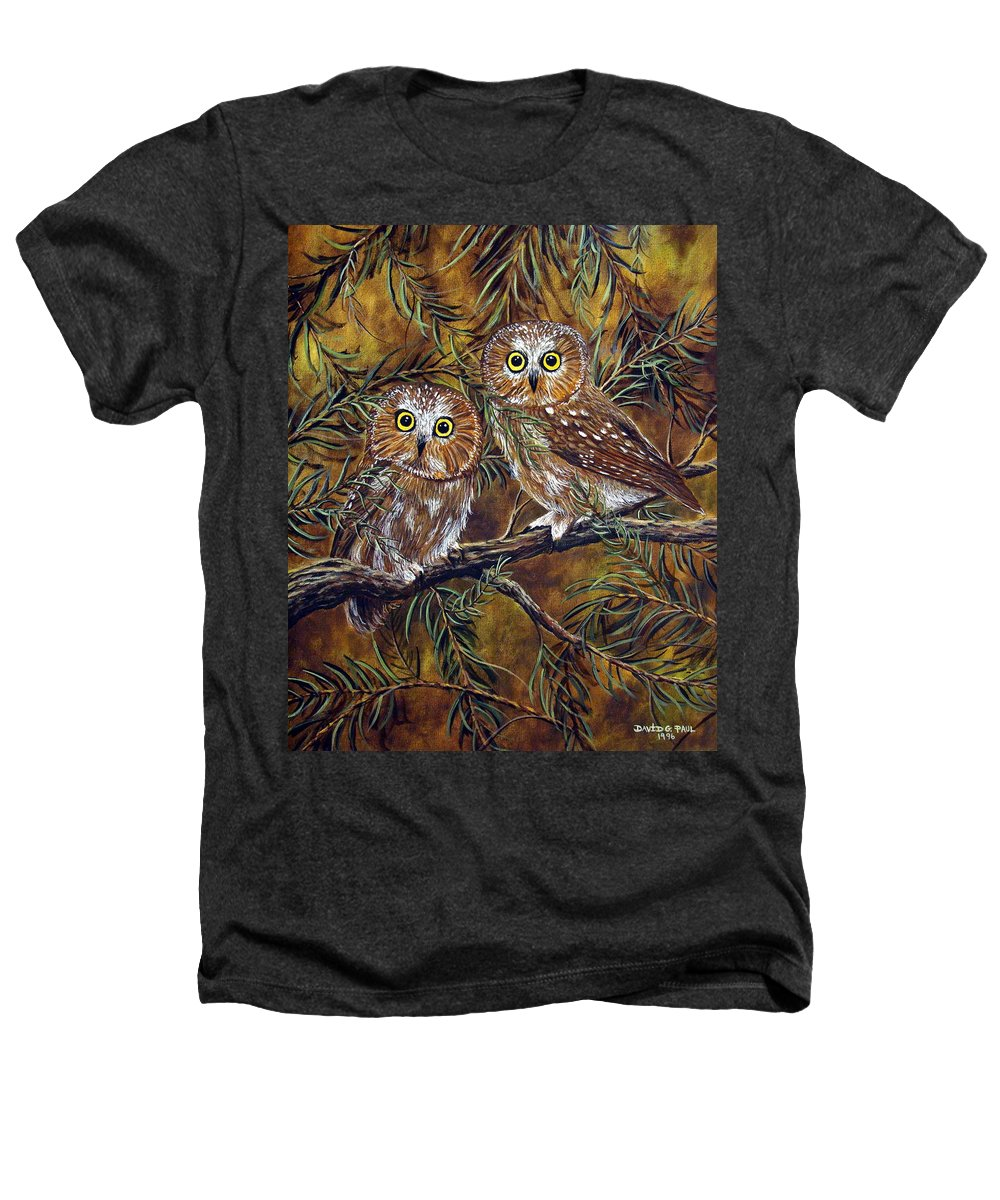 Owls Heathers T-Shirt featuring the painting Branch Buddies by David G Paul