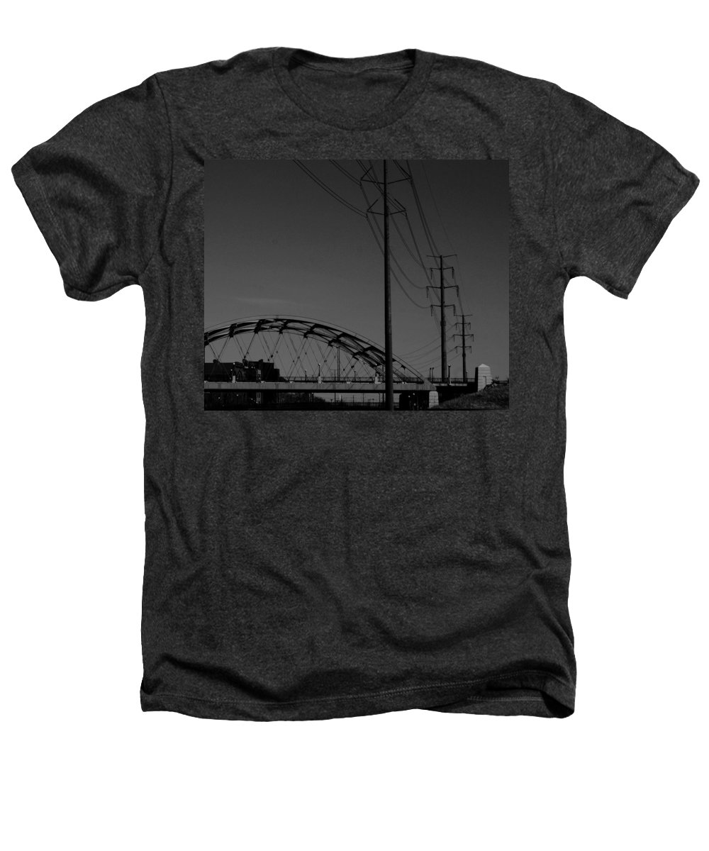Metal Structures Heathers T-Shirt featuring the photograph Bridge And Power Poles At Dusk by Angus Hooper Iii