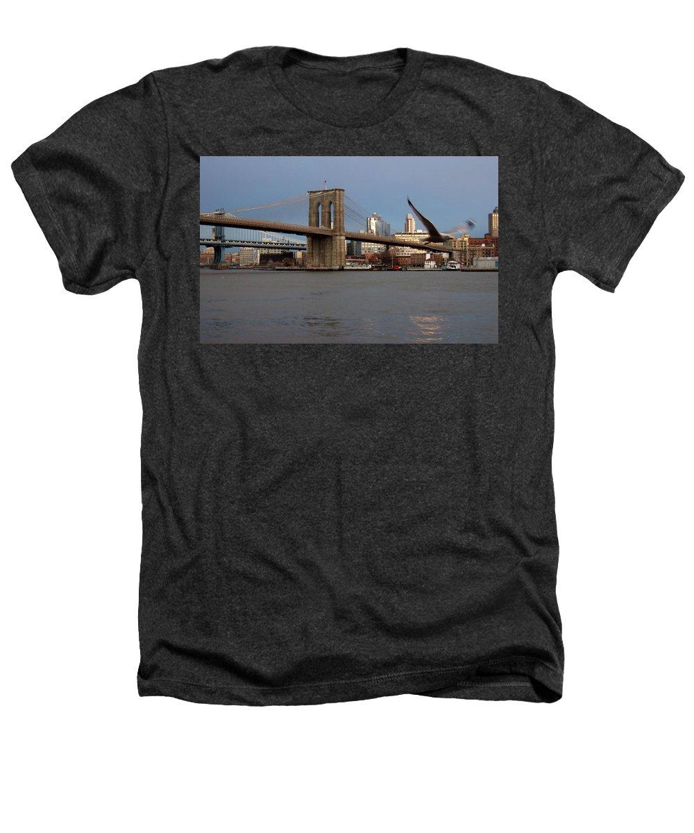 Brooklyn Bridge Heathers T-Shirt featuring the photograph Brooklyn Bridge And Bird In Flight by Anita Burgermeister