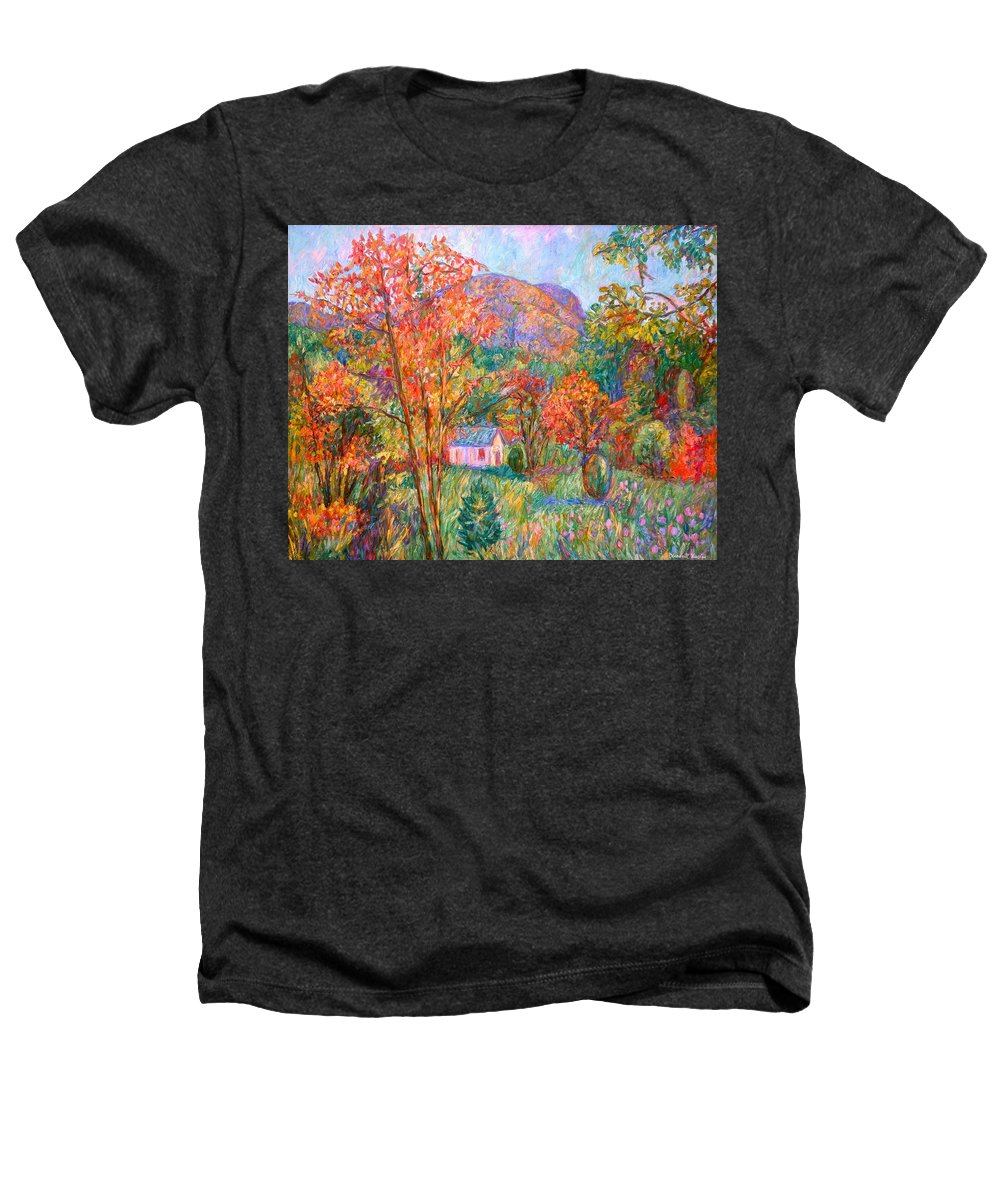 Landscape Heathers T-Shirt featuring the painting Buffalo Mountain In Fall by Kendall Kessler