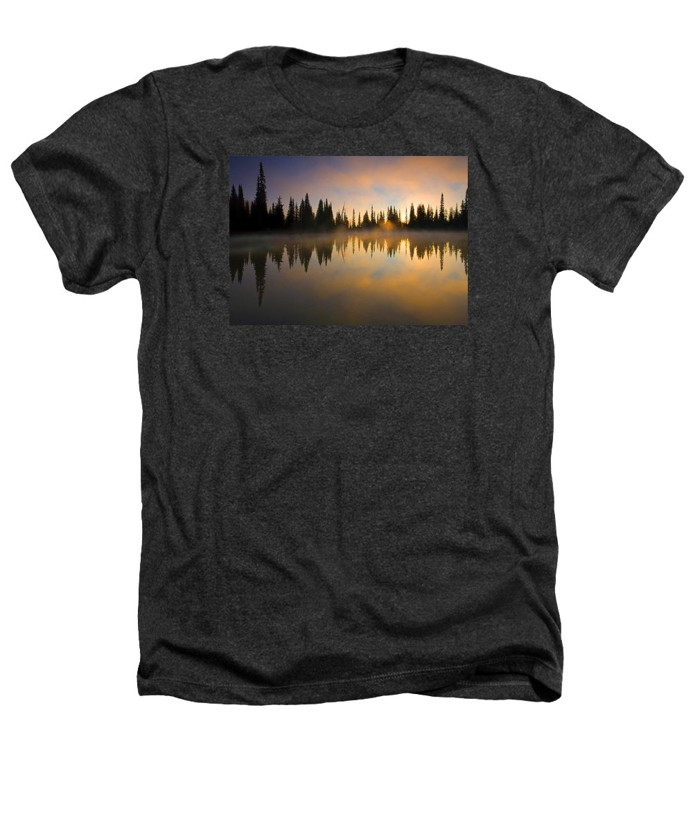 Lake Heathers T-Shirt featuring the photograph Burning Dawn by Mike Dawson