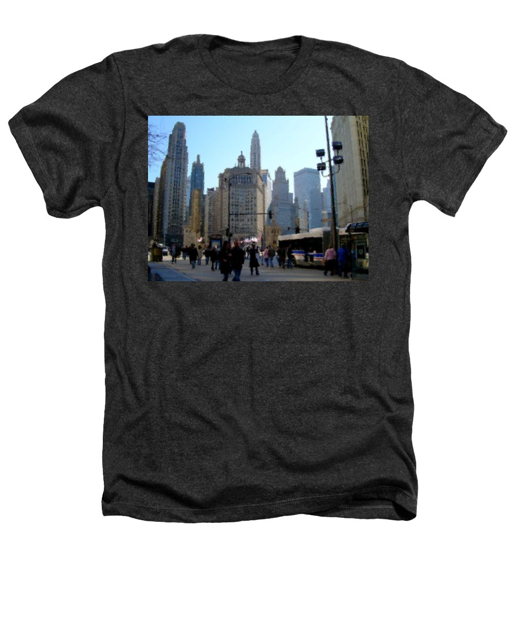 Archtecture Heathers T-Shirt featuring the digital art Bus On Miracle Mile by Anita Burgermeister