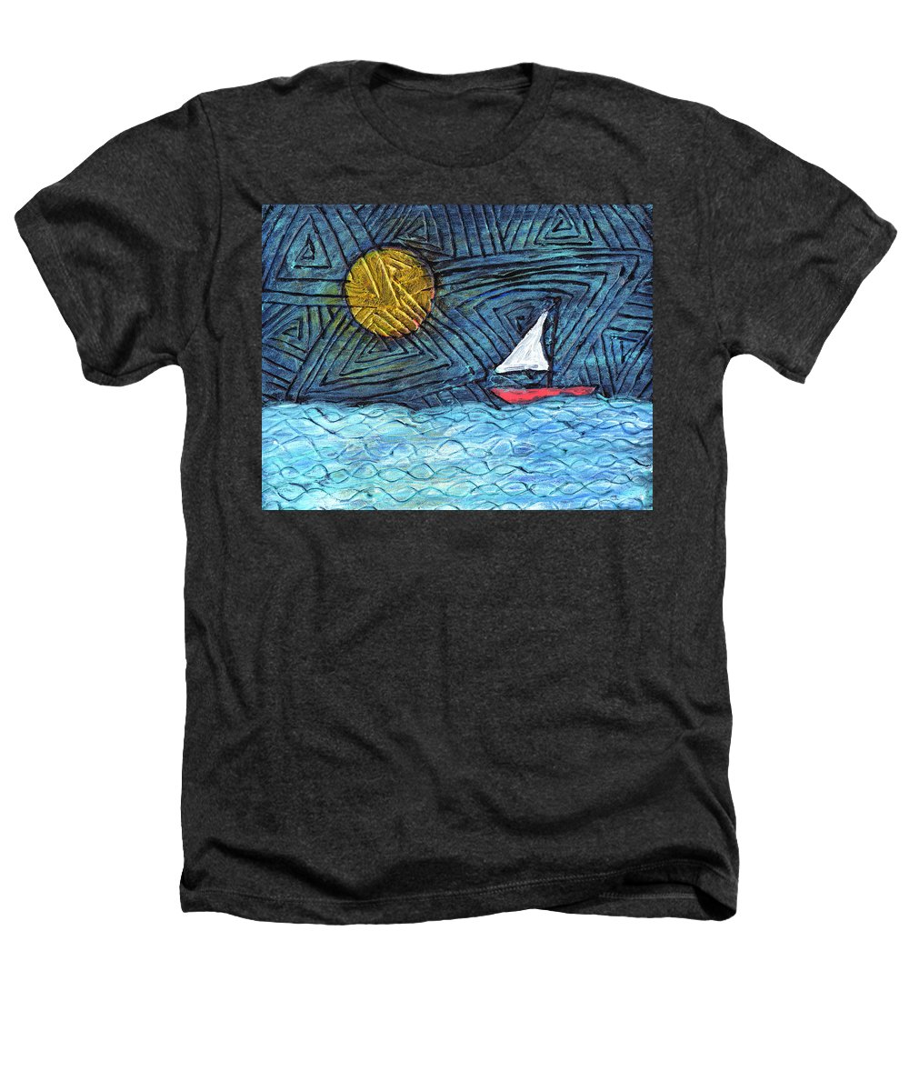 Sail Boat Heathers T-Shirt featuring the painting By The Light Of The Moon by Wayne Potrafka