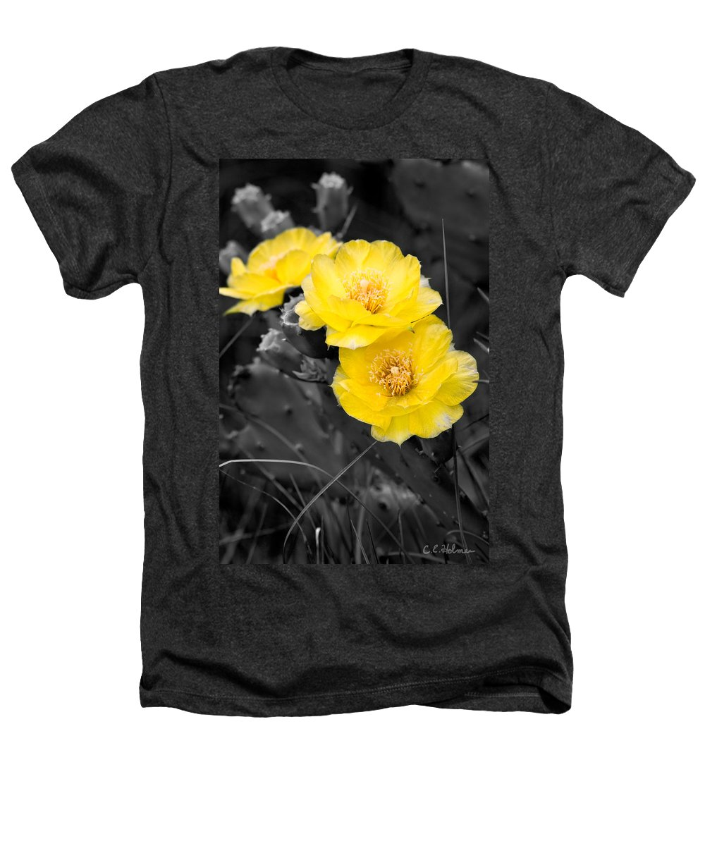 Cactus Heathers T-Shirt featuring the photograph Cactus Blossom by Christopher Holmes