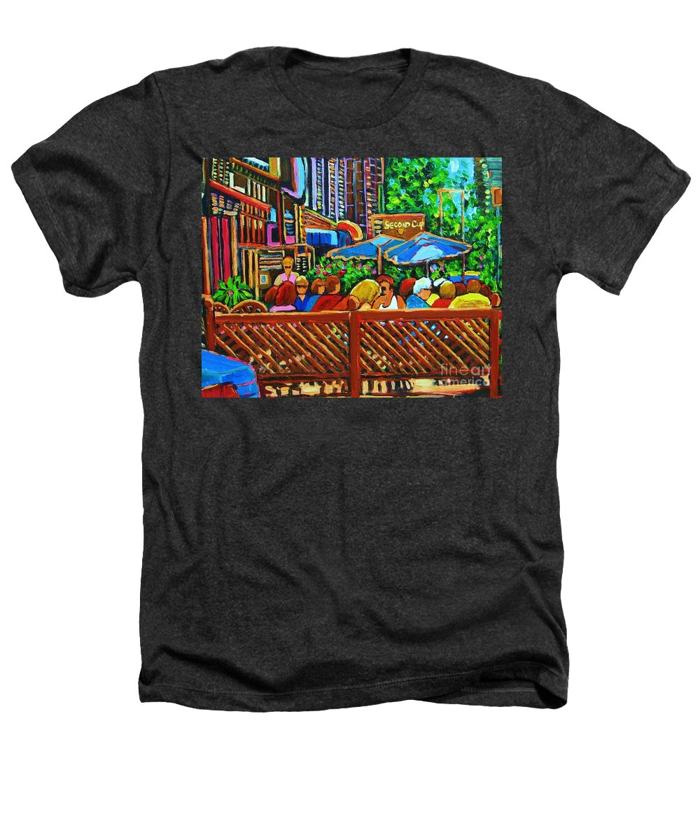 Cafes Heathers T-Shirt featuring the painting Cafe Second Cup by Carole Spandau