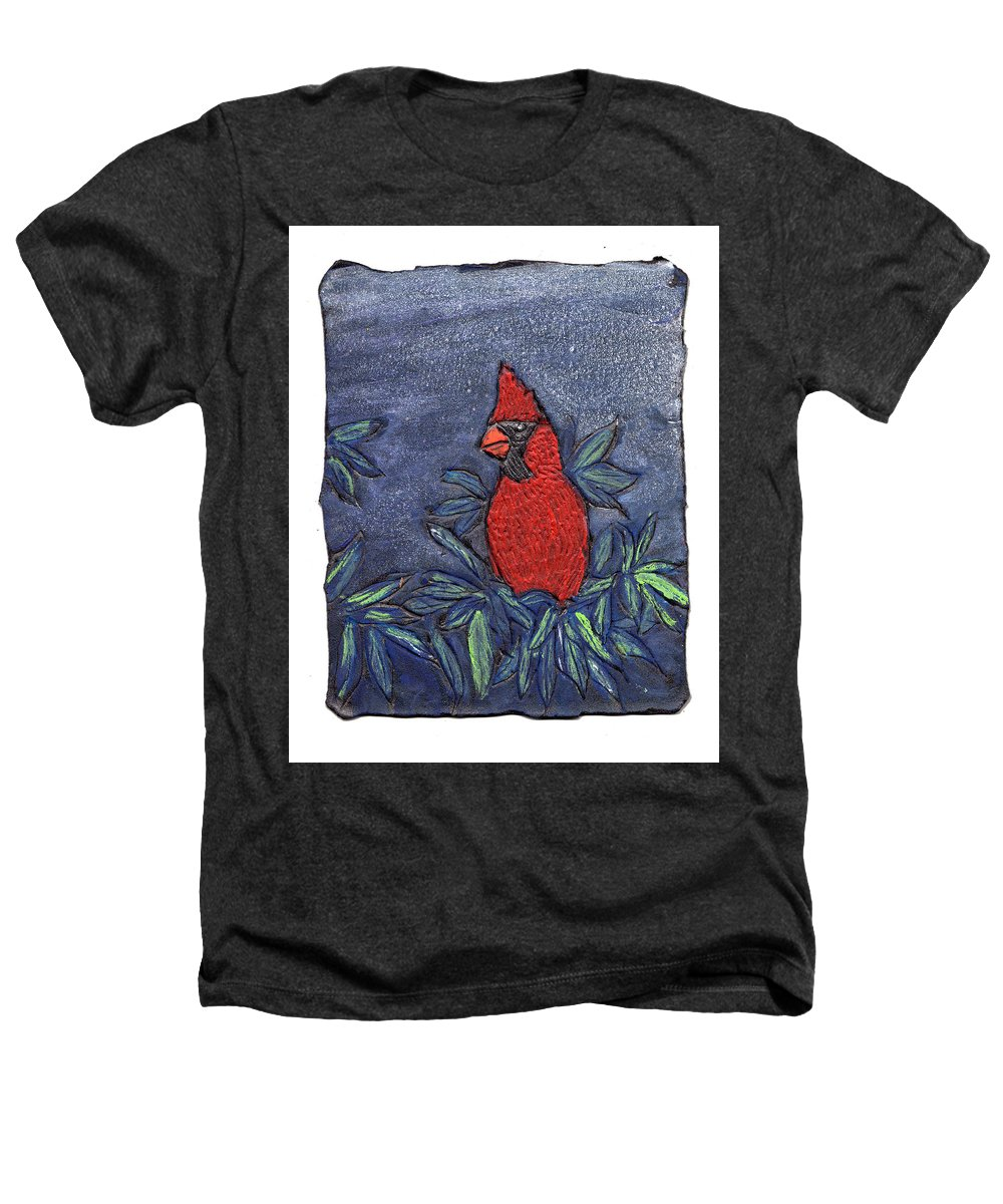 Bird Heathers T-Shirt featuring the painting Cardinal In Winter by Wayne Potrafka