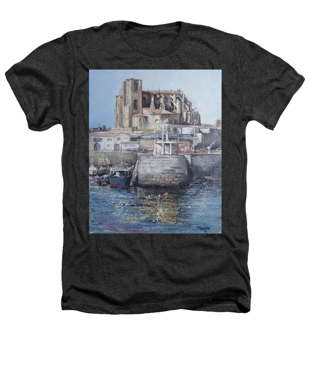 Castro Heathers T-Shirt featuring the painting Castro Urdiales by Tomas Castano