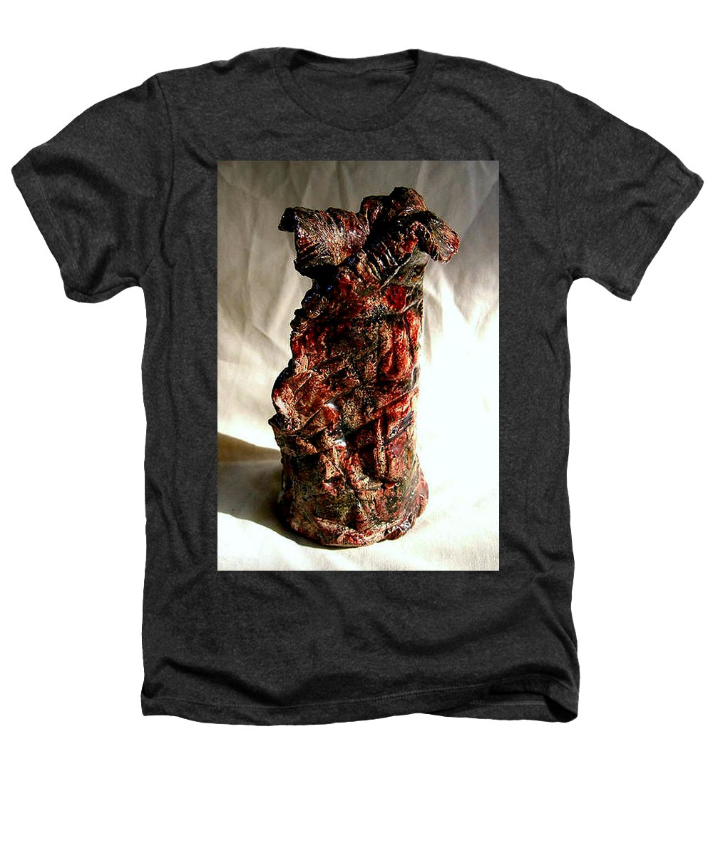Ceramic Heathers T-Shirt featuring the ceramic art Ceramic Red Vase by Madalena Lobao-Tello