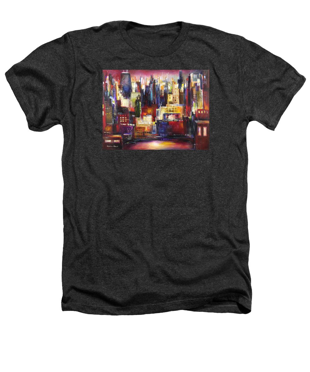Chicago Art Heathers T-Shirt featuring the painting Chicago City View by Kathleen Patrick