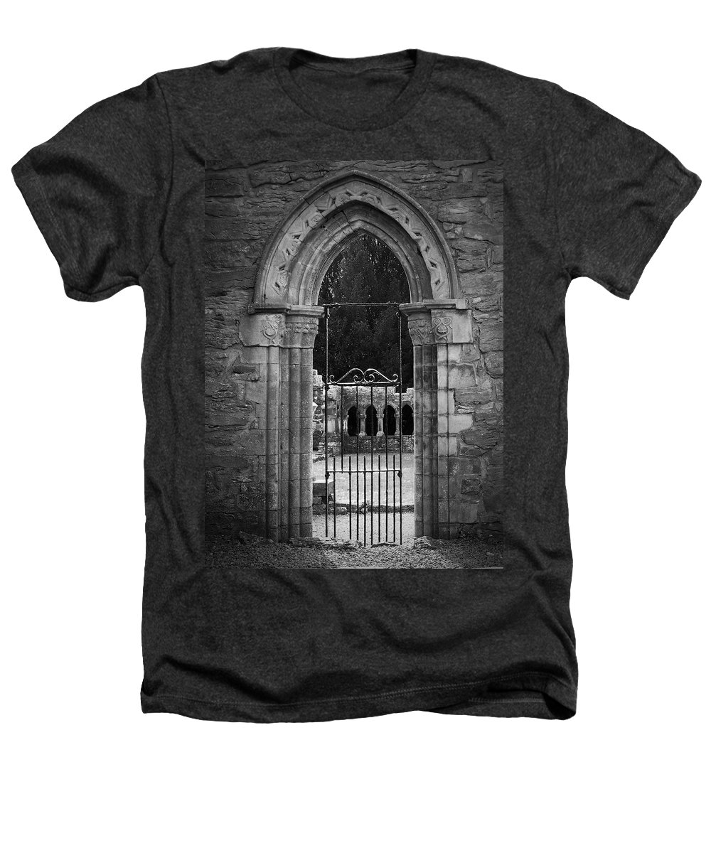 Irish Heathers T-Shirt featuring the photograph Cloister View Cong Abbey Cong Ireland by Teresa Mucha