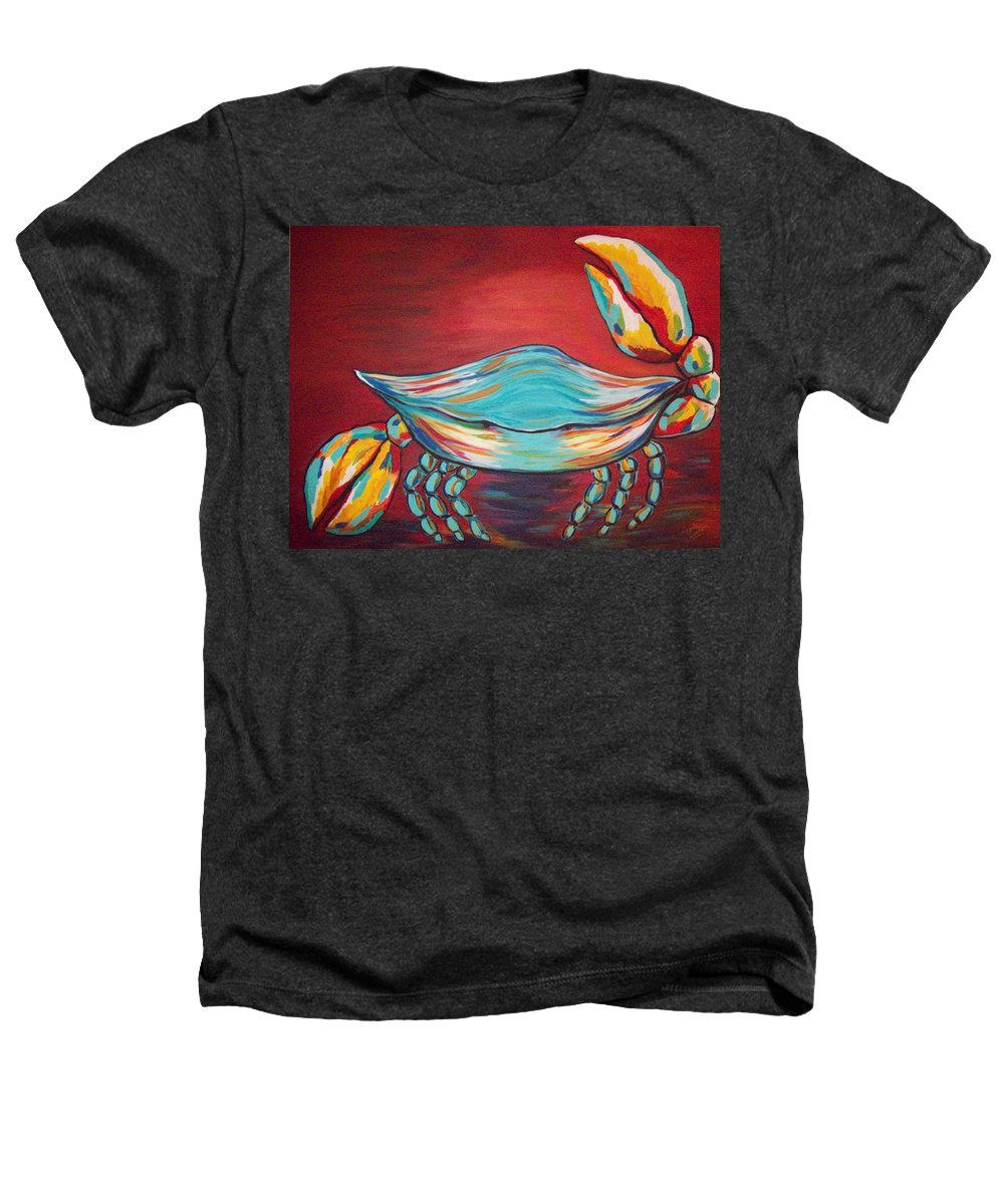Sealife Heathers T-Shirt featuring the painting Colorful Crab by Angela Miles Varnado