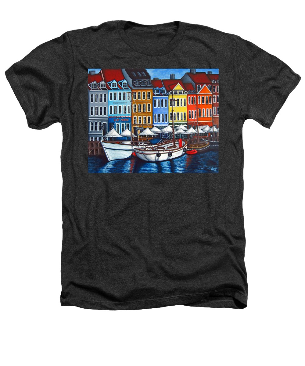 Nyhavn Heathers T-Shirt featuring the painting Colours Of Nyhavn by Lisa Lorenz