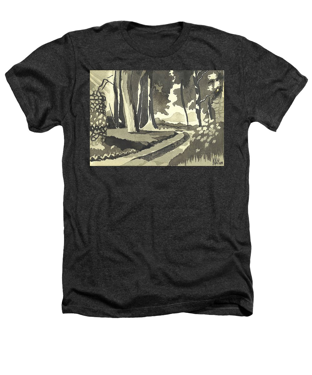 Rural Heathers T-Shirt featuring the painting Country Lane In Evening Shadow by Kip DeVore