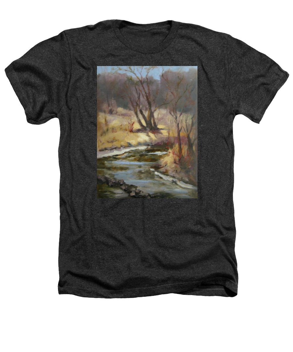Plein Air Landscape Heathers T-Shirt featuring the painting Credit River by Patricia Kness