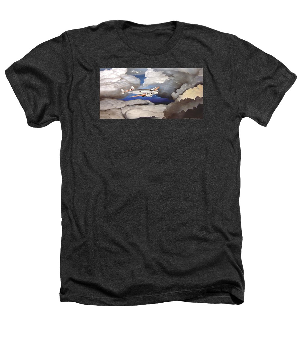 Aviation Heathers T-Shirt featuring the painting Crossing Over Amelia Earharts Final Flight by Marc Stewart