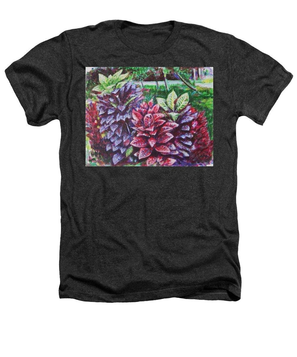 Landscape Heathers T-Shirt featuring the painting Crotons 1 by Usha Shantharam
