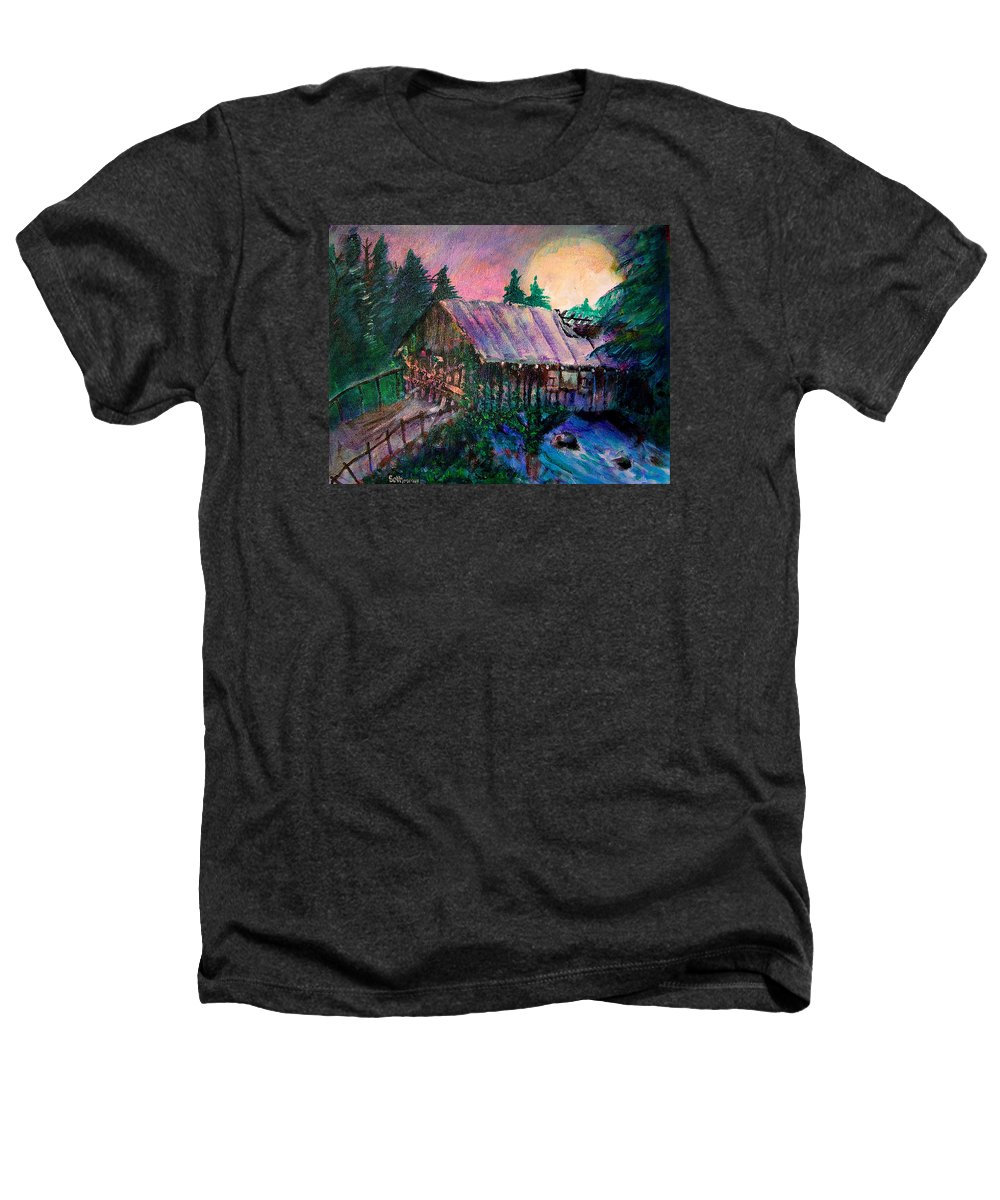 Dangerous Bridge Heathers T-Shirt featuring the painting Dangerous Bridge by Seth Weaver