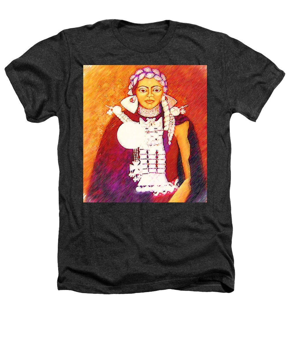 Portrait Heathers T-Shirt featuring the painting Daughter Of The Bright Sun - Kushe by Madalena Lobao-Tello