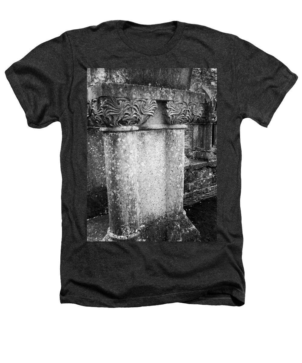 Irish Heathers T-Shirt featuring the photograph Detail Of Capital Of Cloister At Cong Abbey Cong Ireland by Teresa Mucha