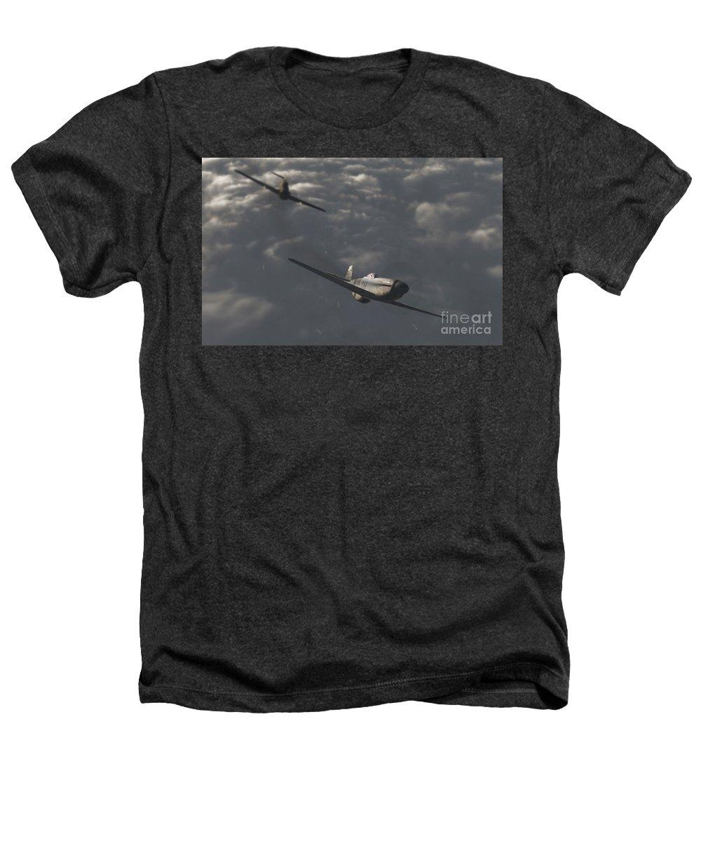 Ww2 Heathers T-Shirt featuring the digital art Dog Fight by Richard Rizzo