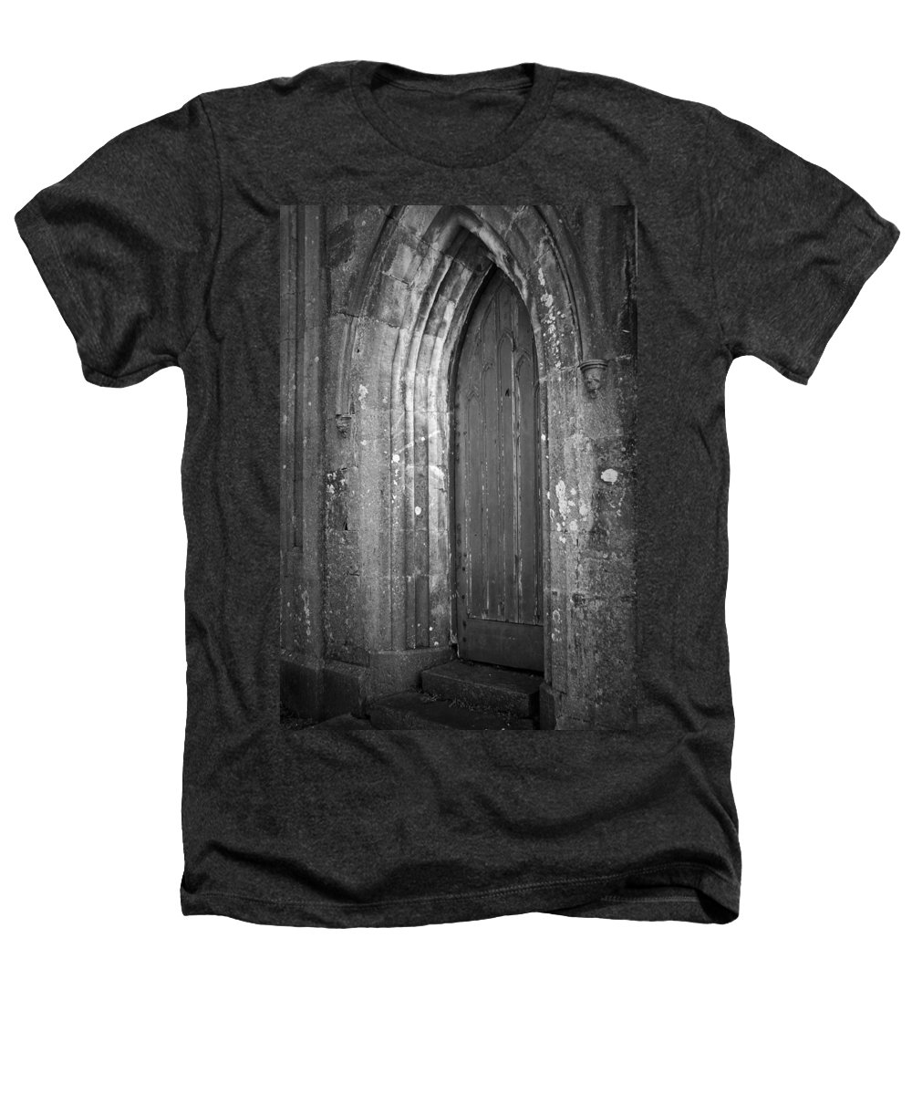Irish Heathers T-Shirt featuring the photograph Door At Protestant Church Macroom Ireland by Teresa Mucha