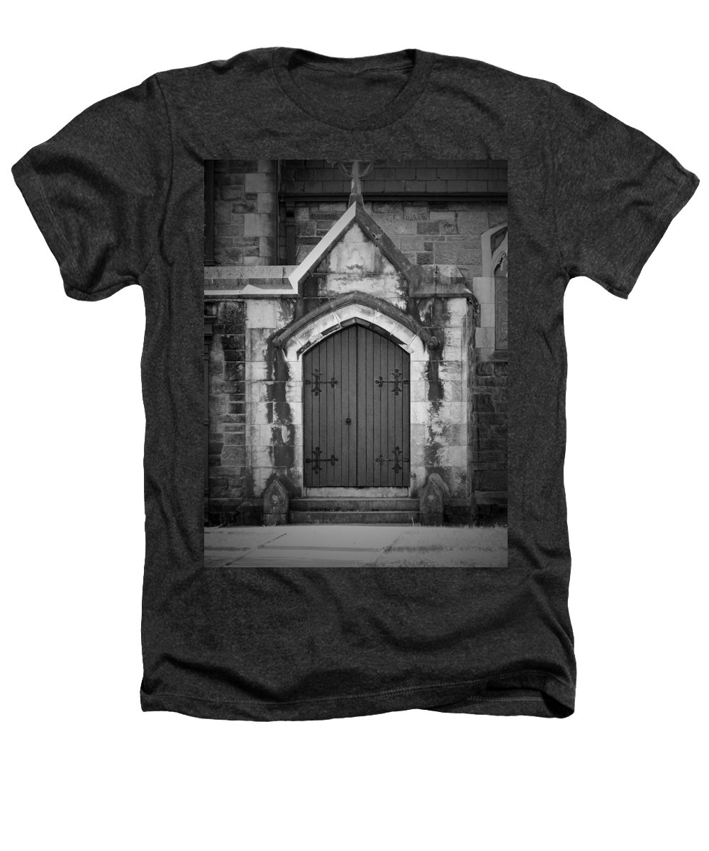Irish Heathers T-Shirt featuring the photograph Door At St. Johns In Tralee Ireland by Teresa Mucha
