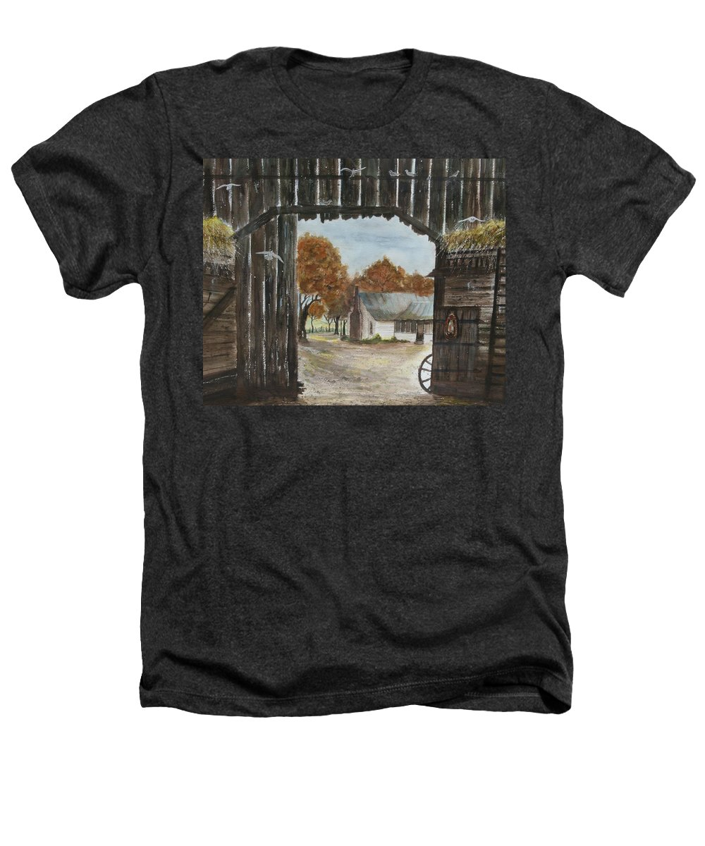 Grandpa And Grandma's Homeplace Heathers T-Shirt featuring the painting Down Home by Ben Kiger