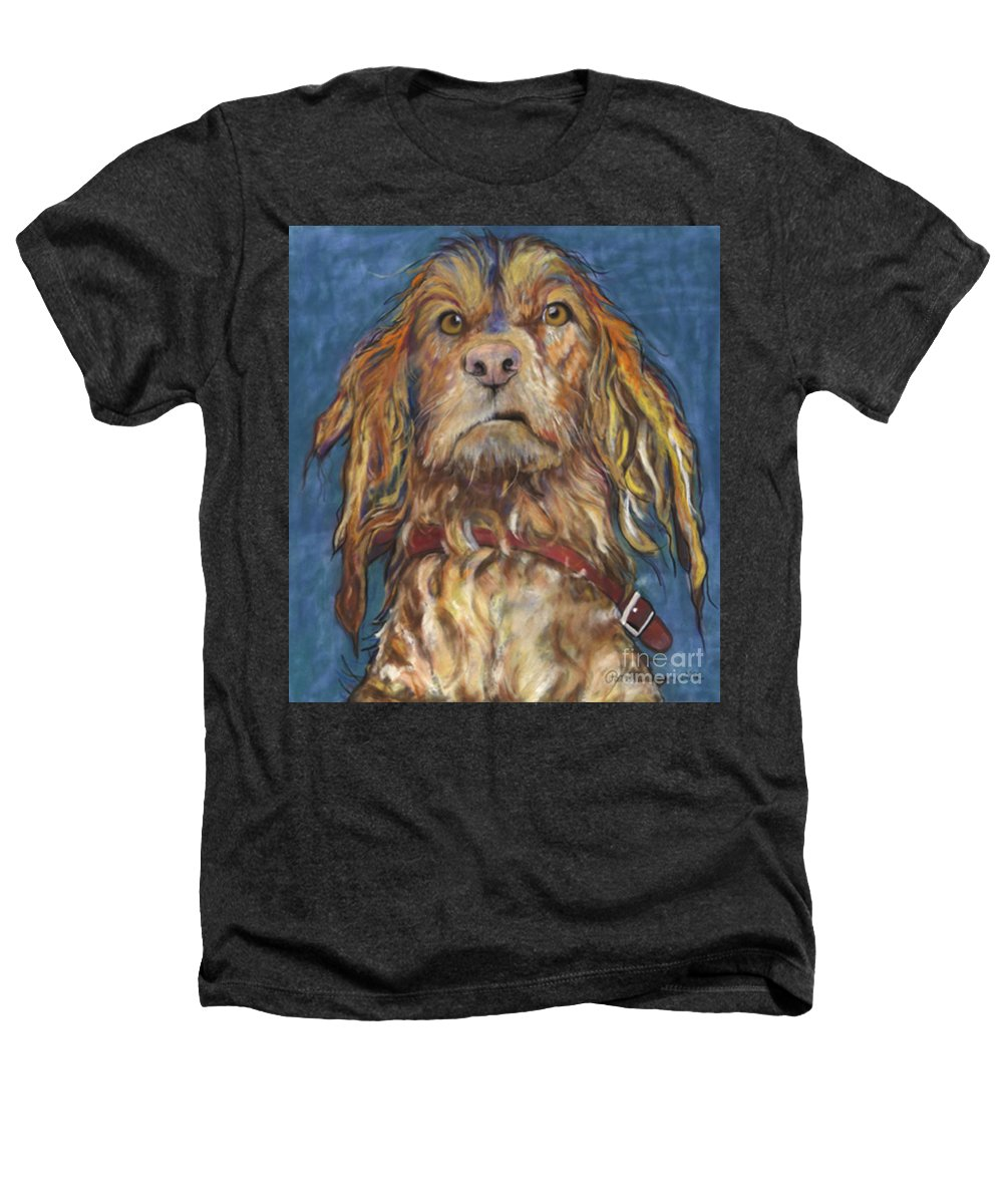 Golden Retriever Painting Heathers T-Shirt featuring the pastel Drenched by Pat Saunders-White