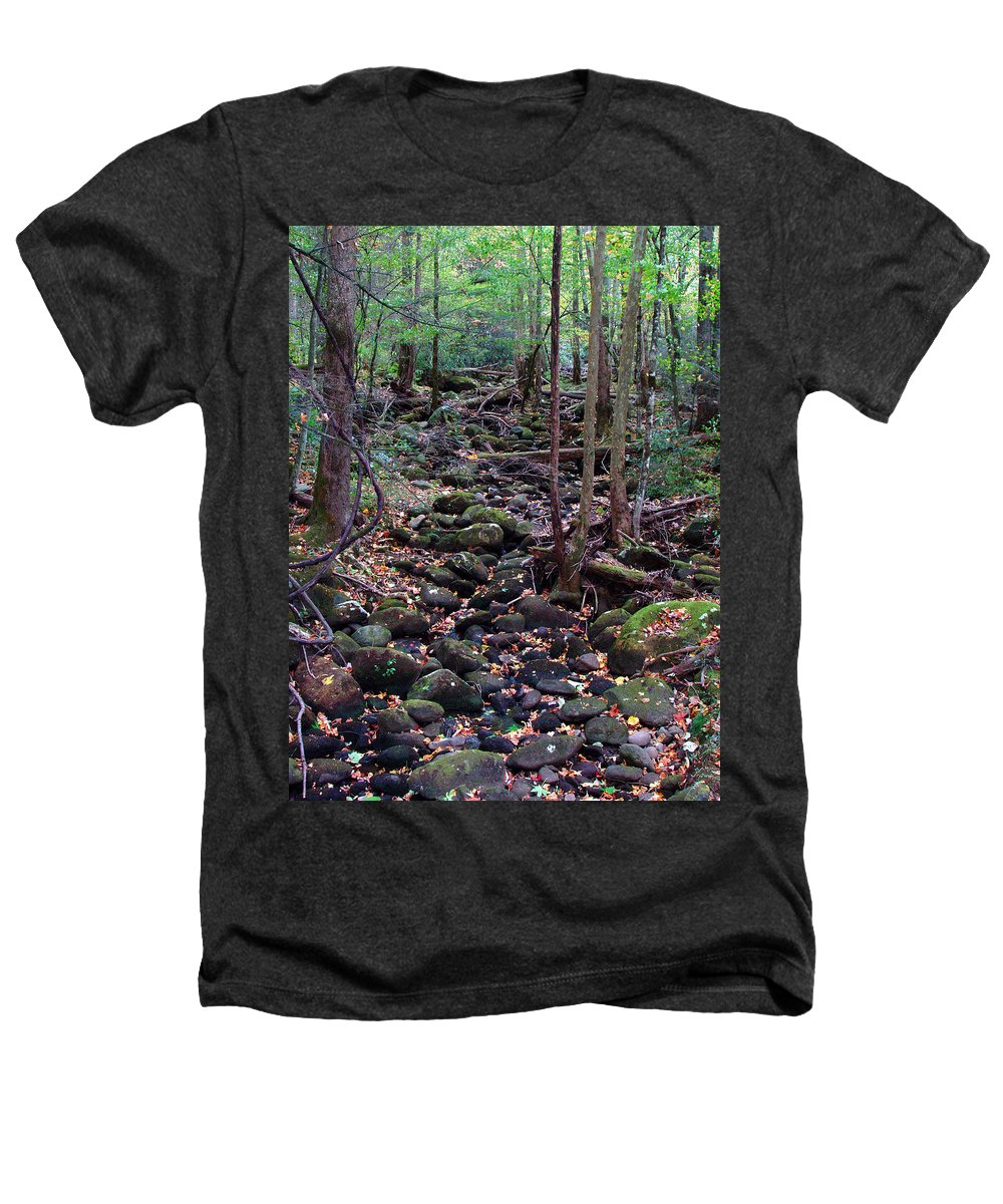 River Heathers T-Shirt featuring the photograph Dry River Bed- Autumn by Nancy Mueller