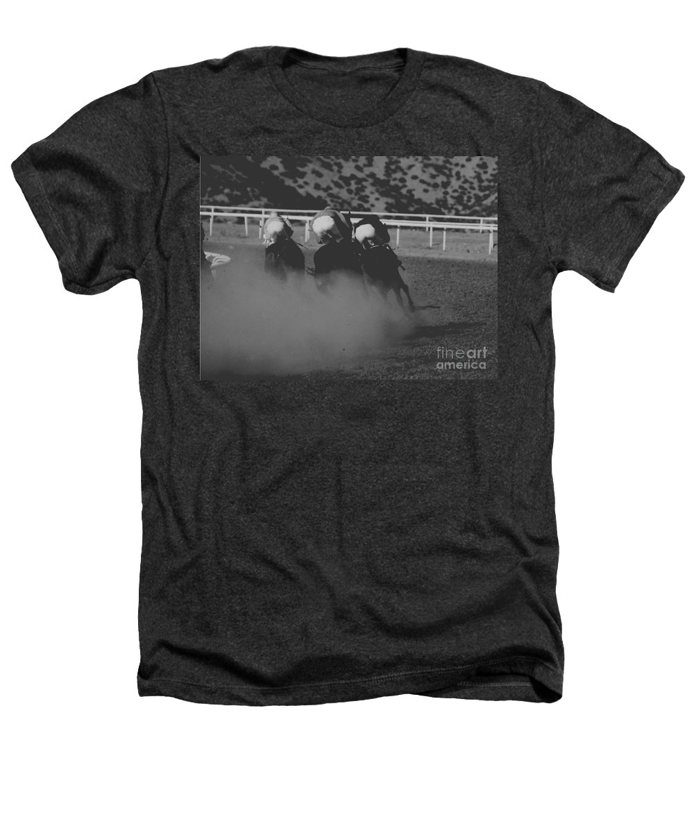 Horse Heathers T-Shirt featuring the photograph Dust And Butts by Kathy McClure
