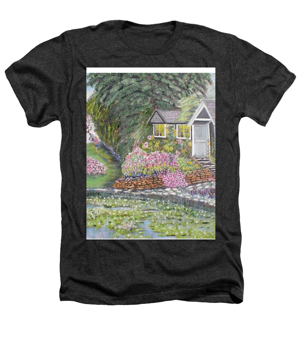 Cottage Heathers T-Shirt featuring the painting English Cottage by Hal Newhouser