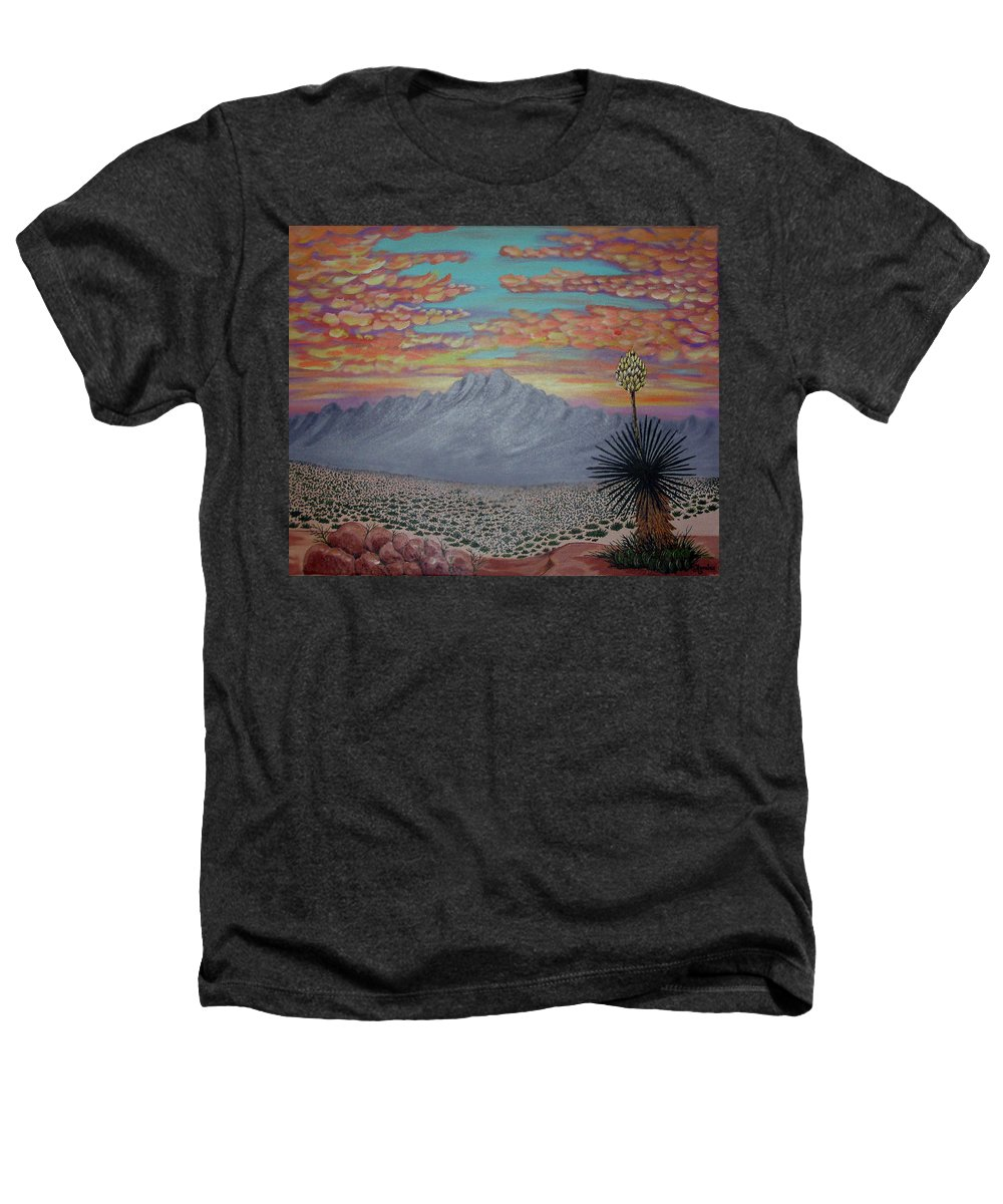 Desertscape Heathers T-Shirt featuring the painting Evening In The Desert by Marco Morales